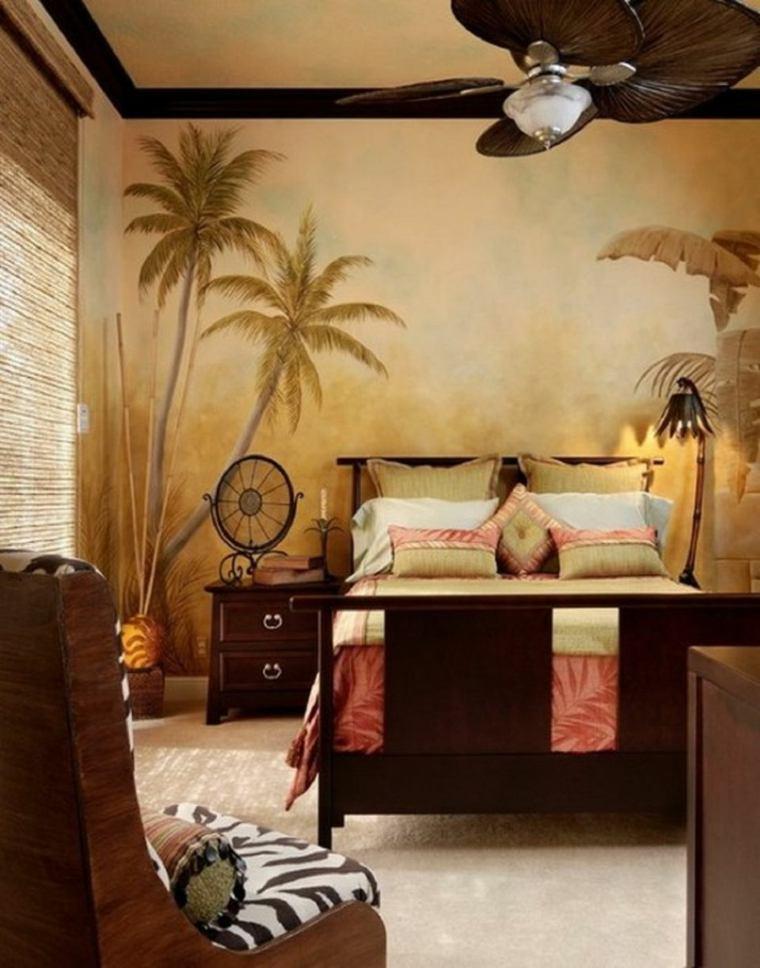 cómo decorar una recámara estilo-tropical-disenos