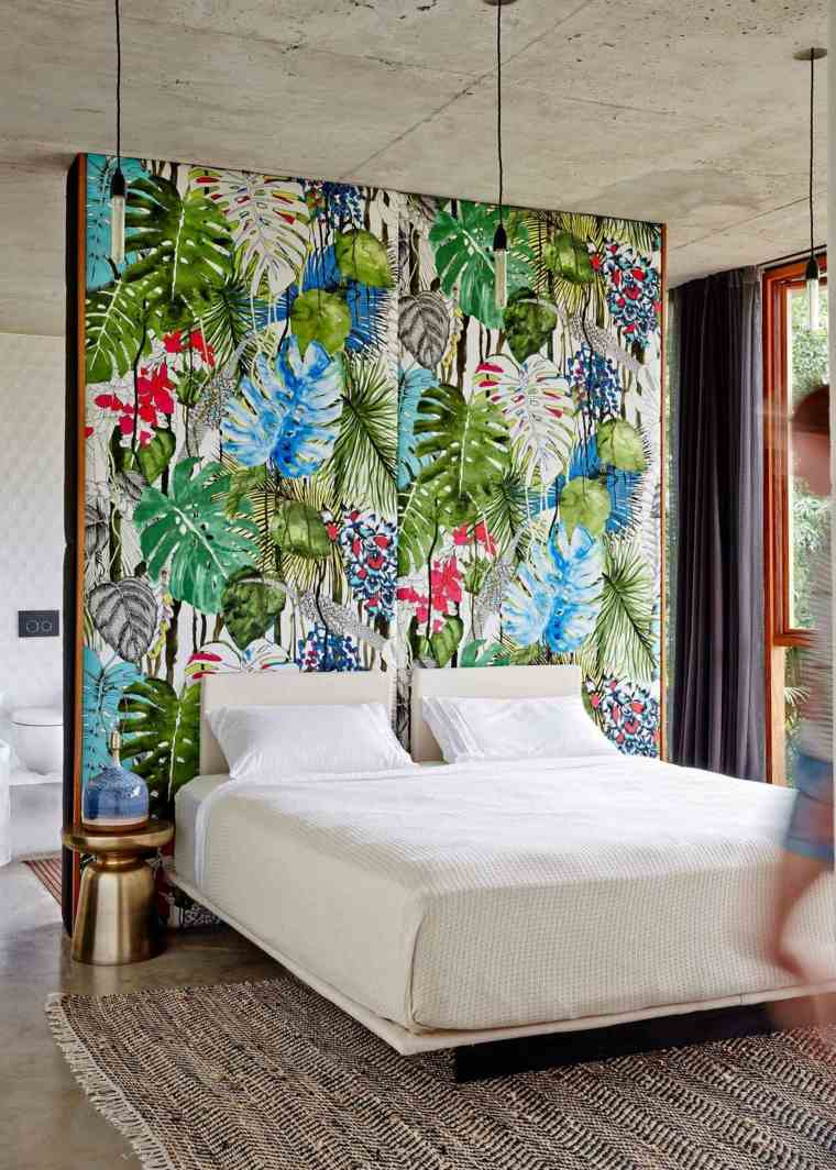 cómo decorar una recámara-estilo-tropical-ideas-estampas