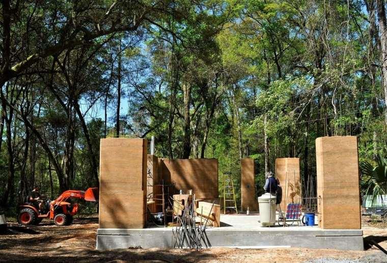 construcciones de casas con tierra-comprimida