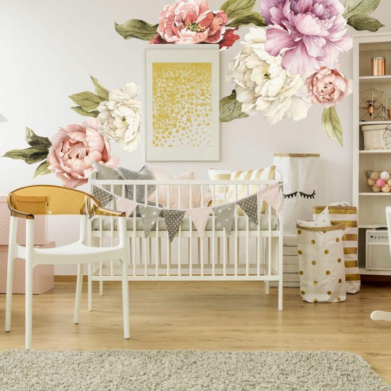 decoración de cuarto de bebe-estilo-flores-grandes-pared