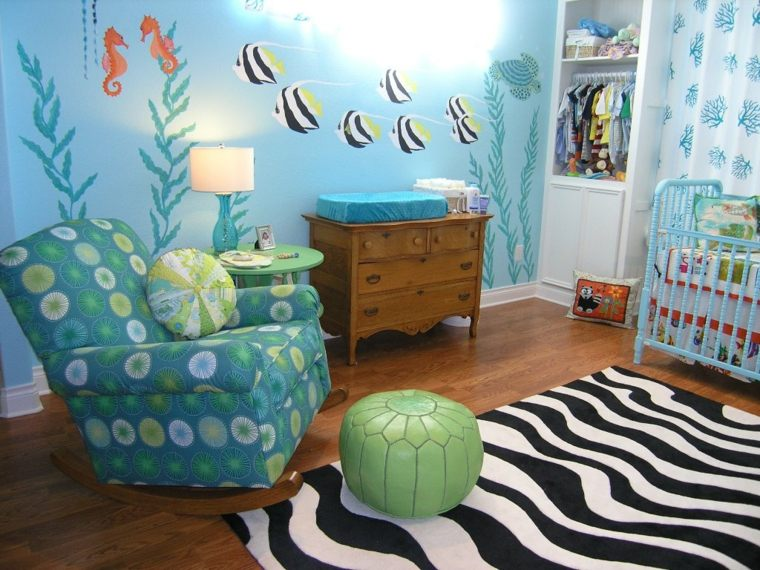 decoración de cuarto de bebe-estilo-peces-ideas