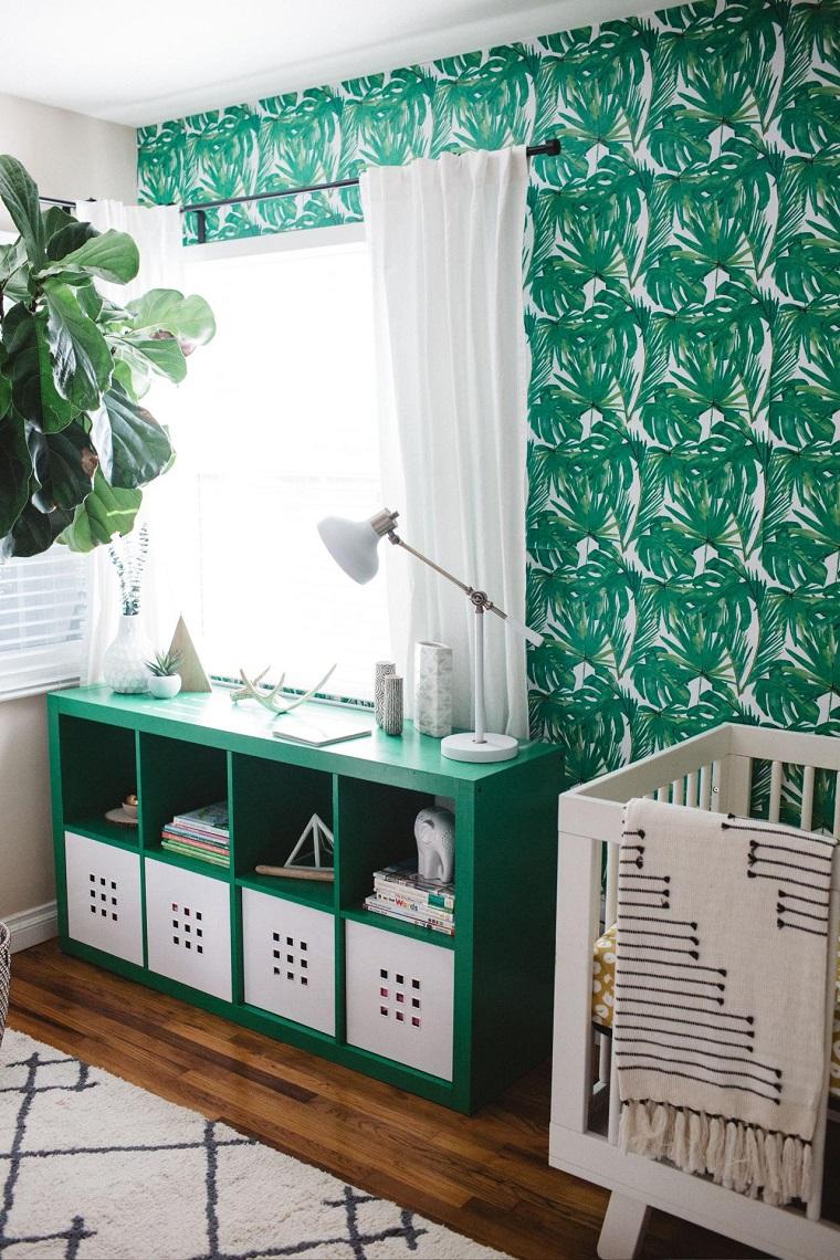 decoración de cuarto de bebe estilo-plantas-papel-pared
