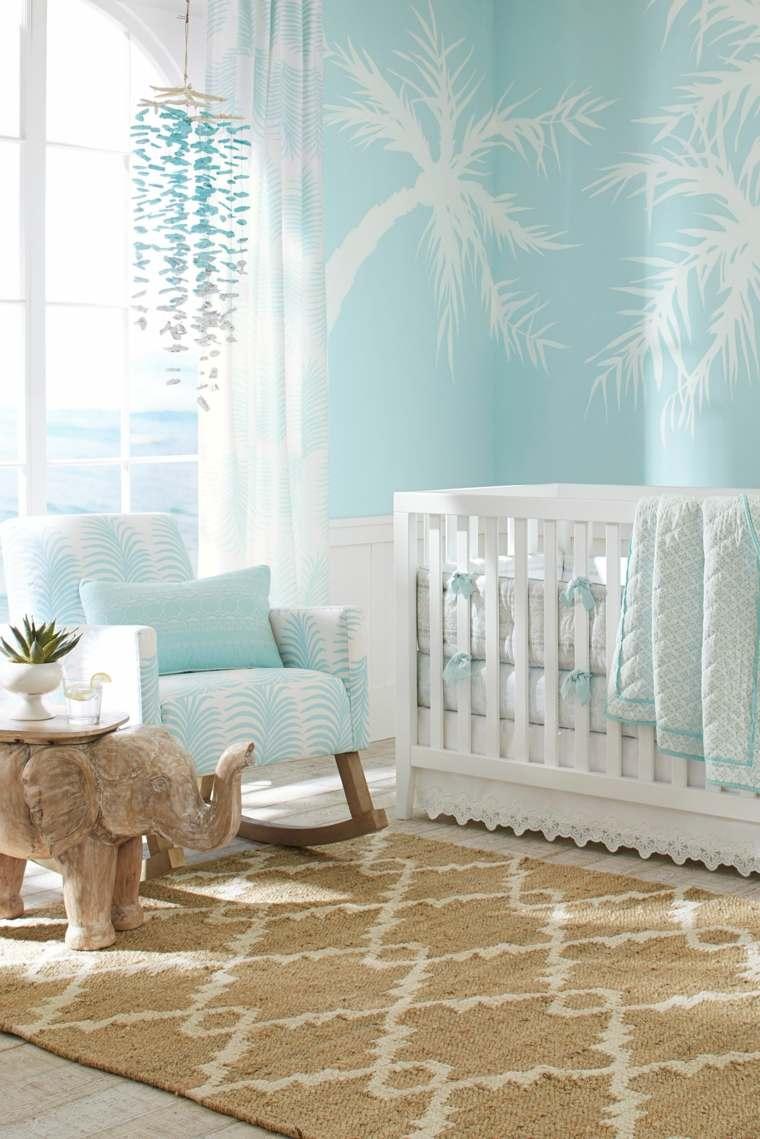 decoracion-de-cuarto-de-bebe-estilo-tropical-azul-blanco