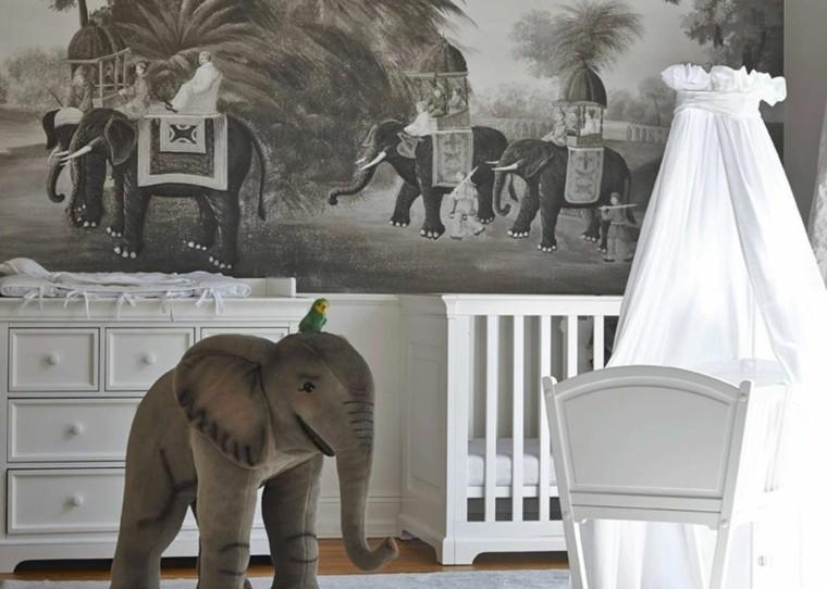 decoración de cuarto de bebe-estilo-tropical-elefante