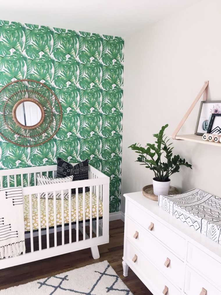 decoracion-de-cuarto-de-bebe-estilo-tropical-papel-pared-original