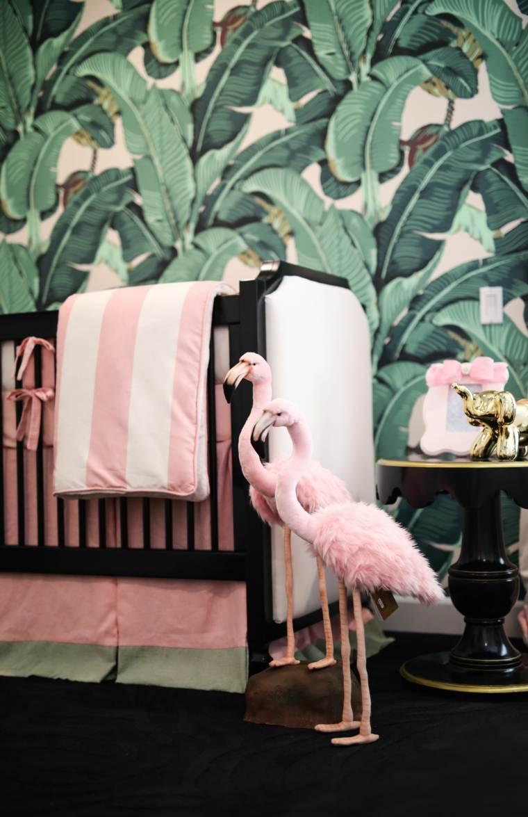 decoracion-de-cuarto-de-bebe-estilo-tropical-papel-pared