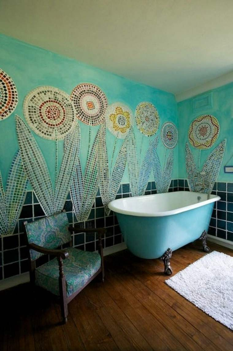 diseños de baños boho-azul