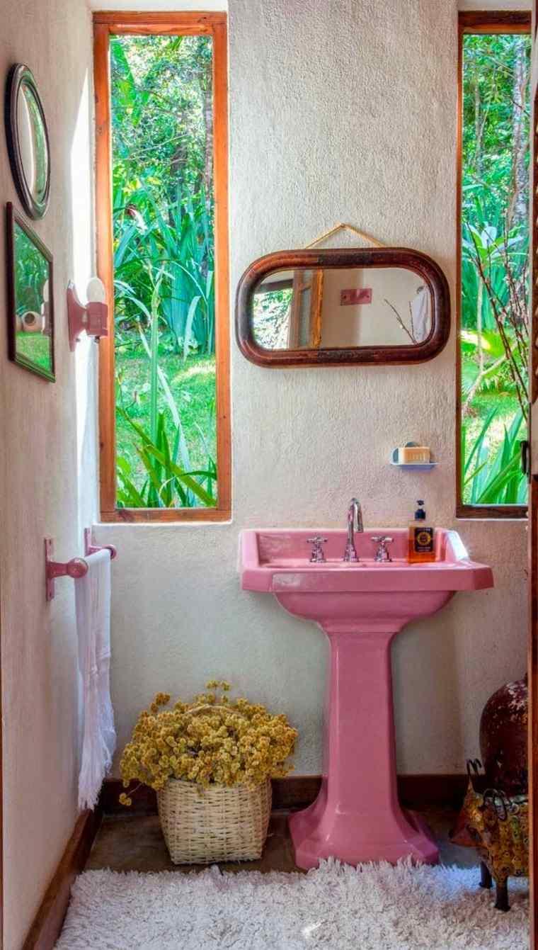 diseños-de-baños-lavabo-rosa