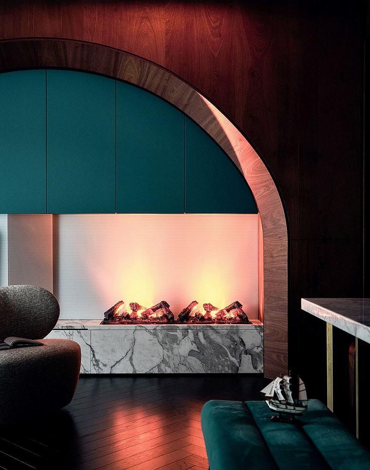 diseño y decoración de interiores-apartamento-chimenea