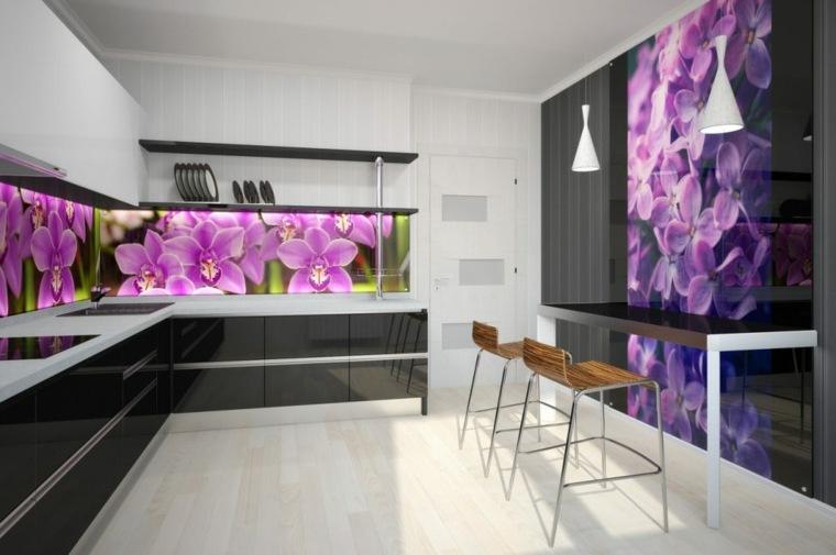 disenos de cocinas modernas-salpicaderos-flores