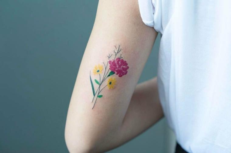 tattoo de flores minimalista