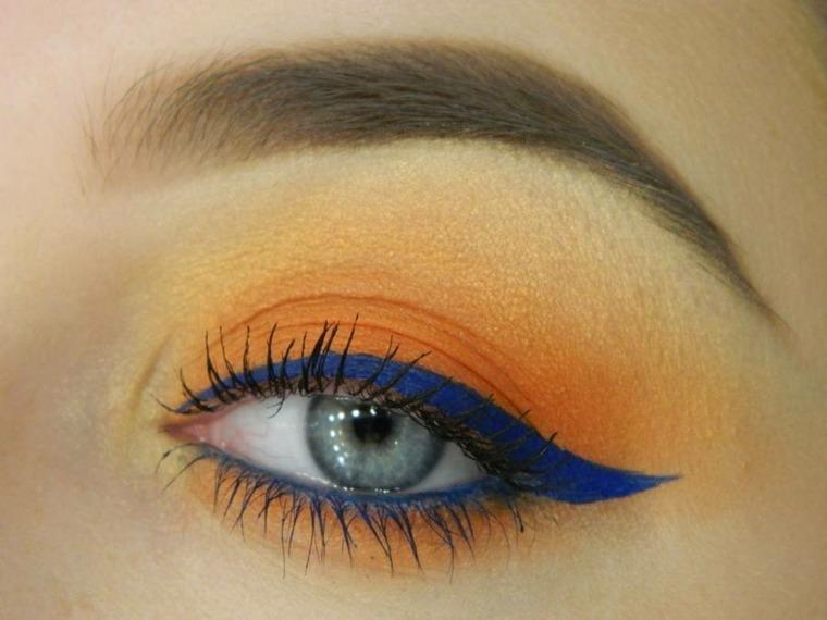 maquillaje de moda-naranja-azul-verano