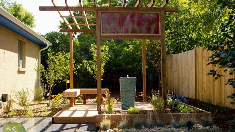 diseños de jardines con pérgola