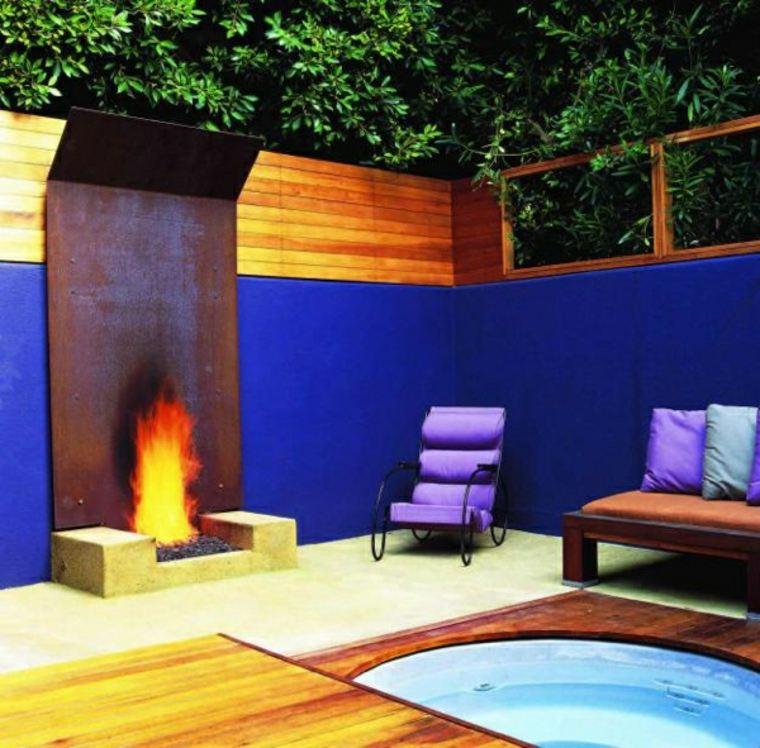 jardines con chimeneas para exterior