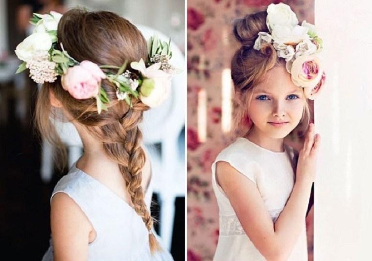 peinados para nina flores-decorar-cabello