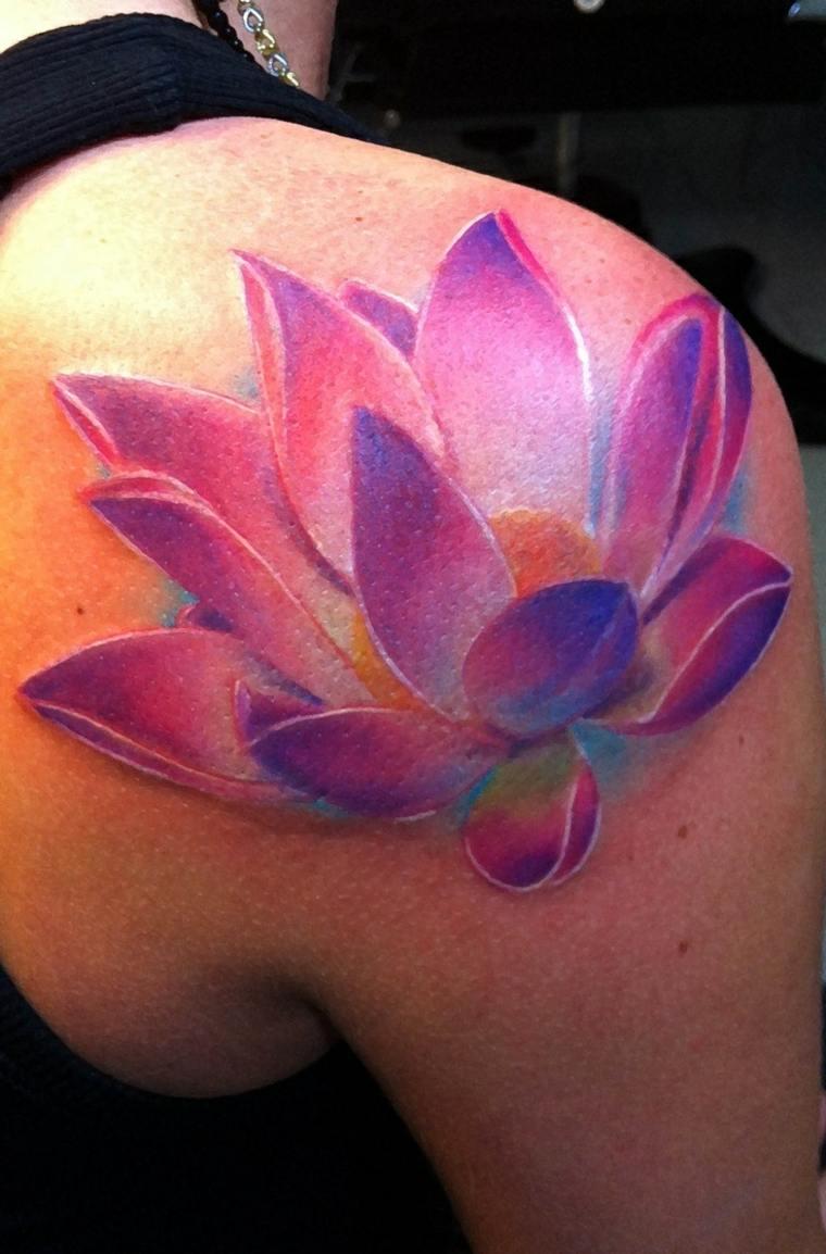 tatuaje de flores color