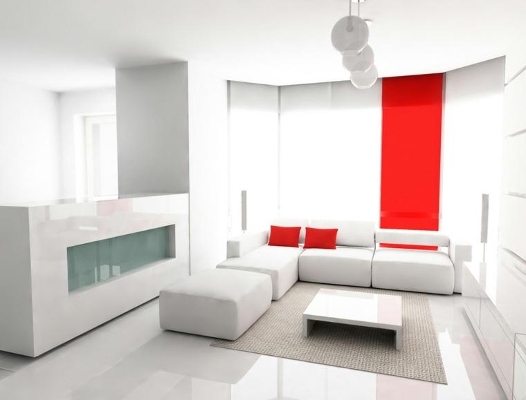 salas minimalistas-blanco-rojo