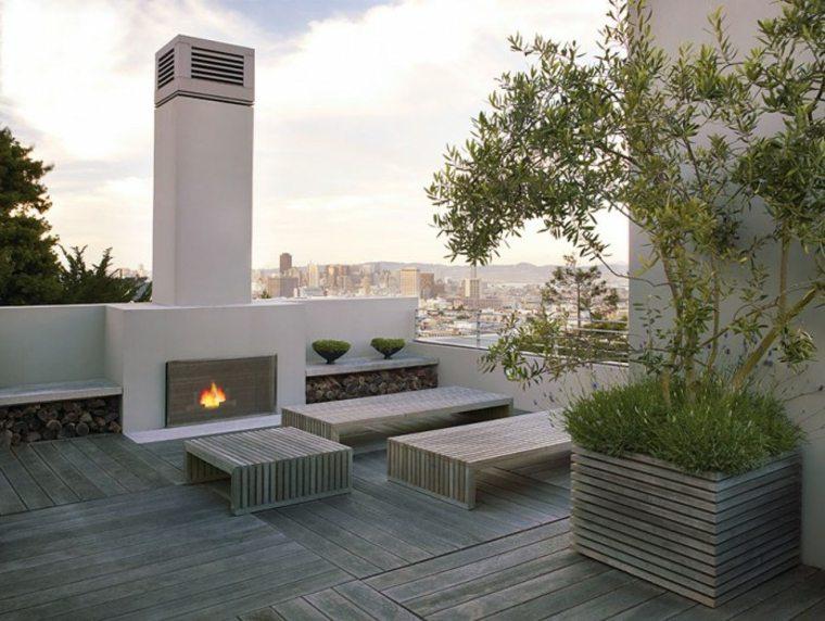 originales diseños de jardines con chimeneas