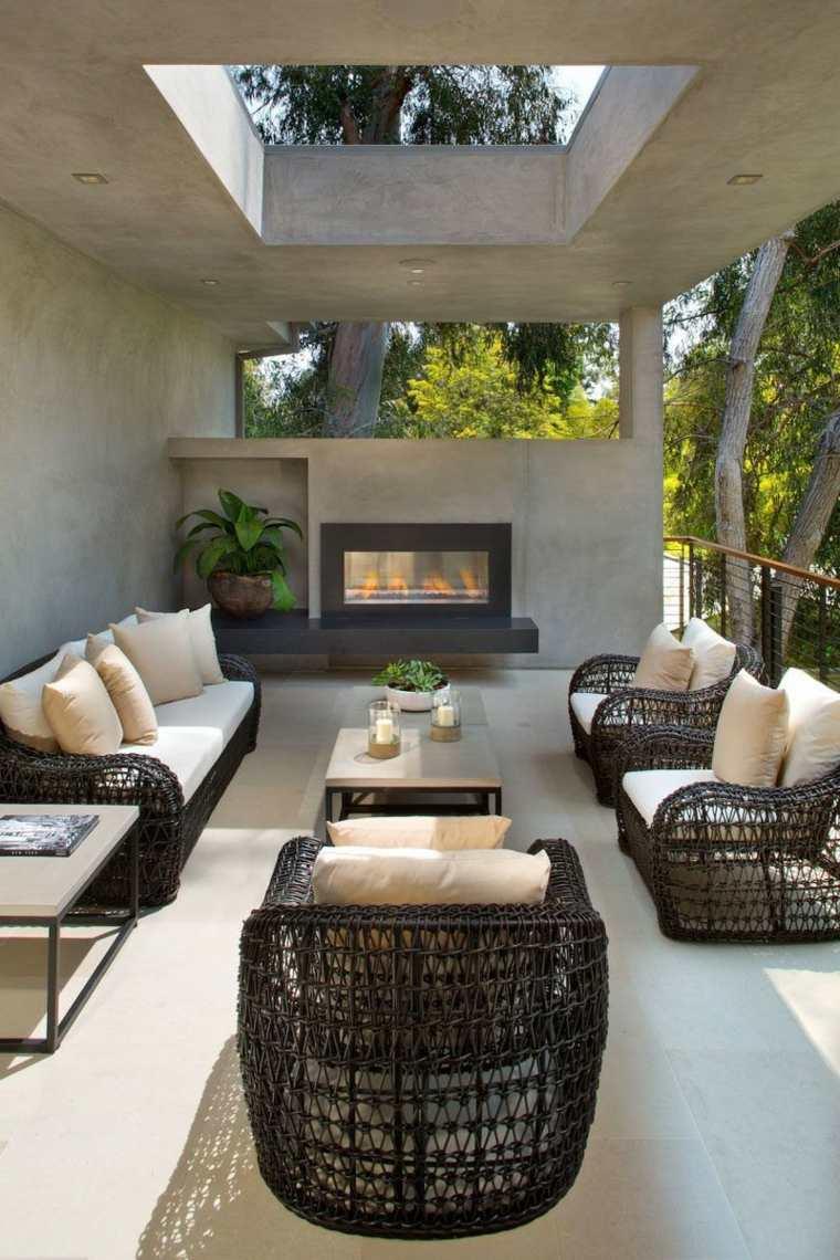originales diseños de patios con chimeneas