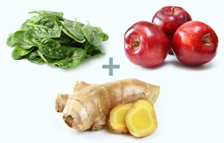alimentos espinacas-manzanas-genjibre