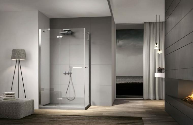 cabina de ducha con puertas de vidrio