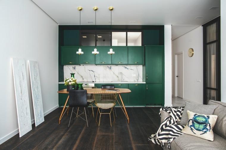 decoracion-para-cocinas-ideas-atractivas-muebles-verde