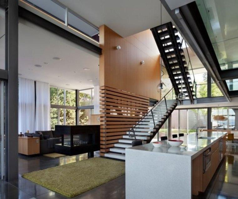 Enlace la escalera y la pantalla a través de elementos de diseño