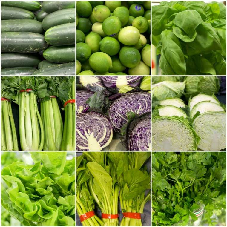 frutas y verduras color-verde