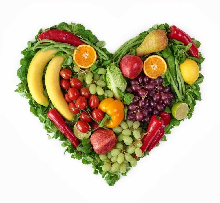 frutas y verduras corazon