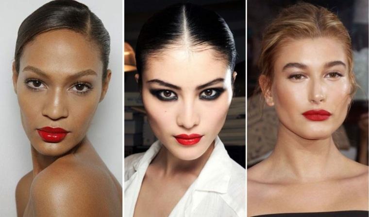 Maquillaje de moda labios rojos