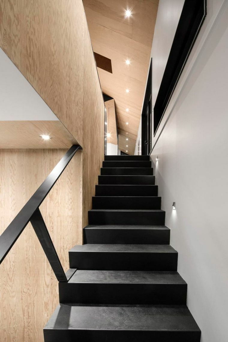 modelos de escaleras-negro-madera