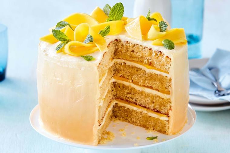 Pastel de mango y coco
