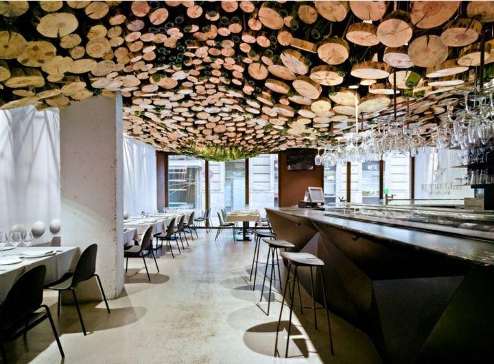 restaurante diseño troncos madera