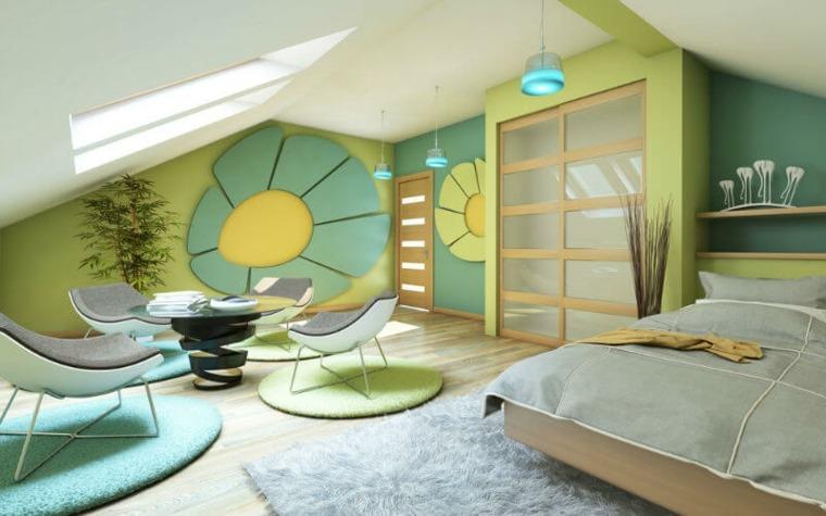 Dormitorio colorido y brillante en el ático