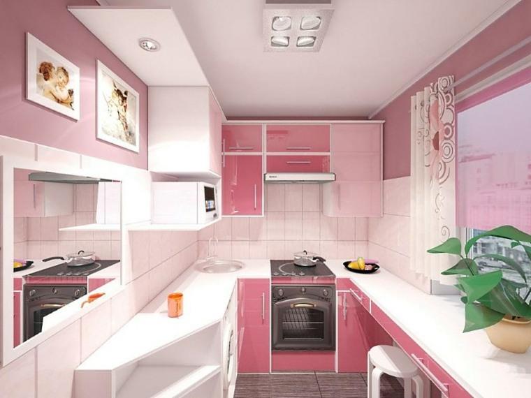 colores para cocinas pequenas-rosa