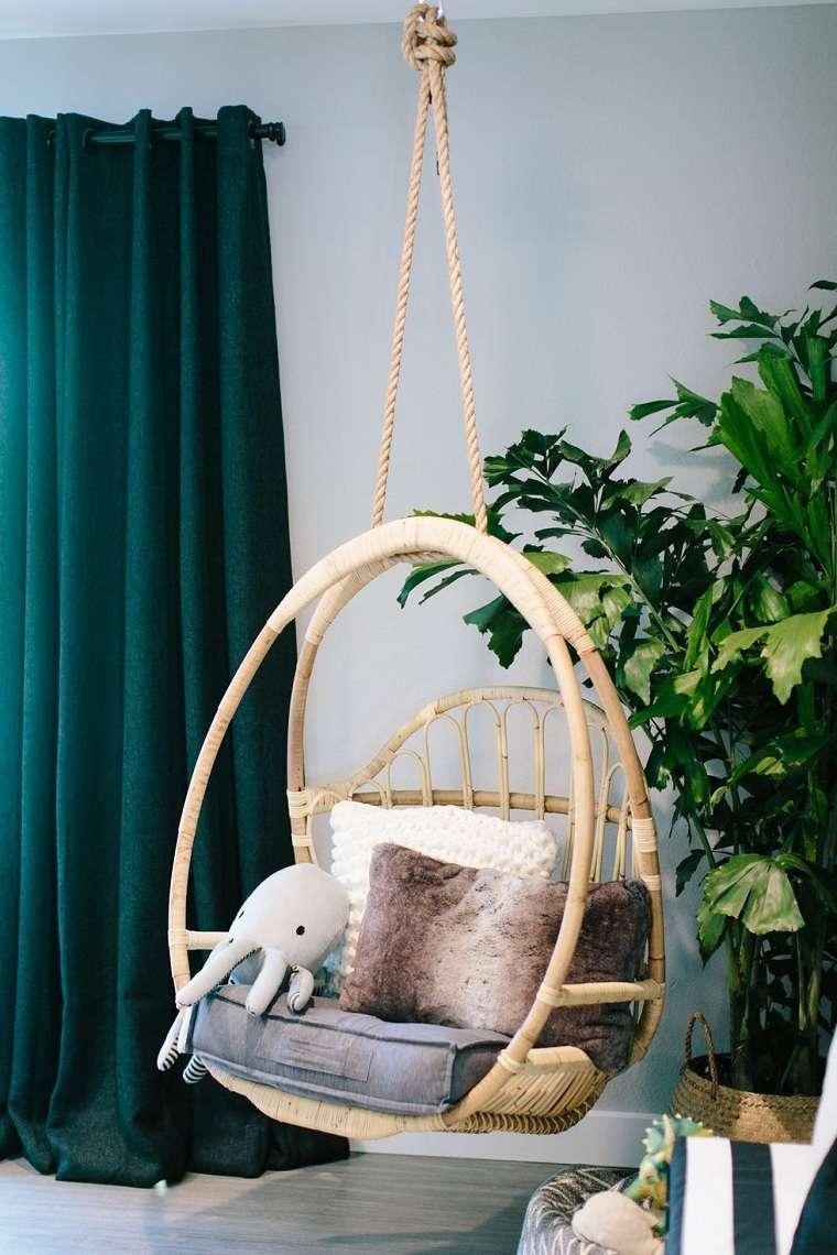 colores para interiores-diseno-cortinas-verdes
