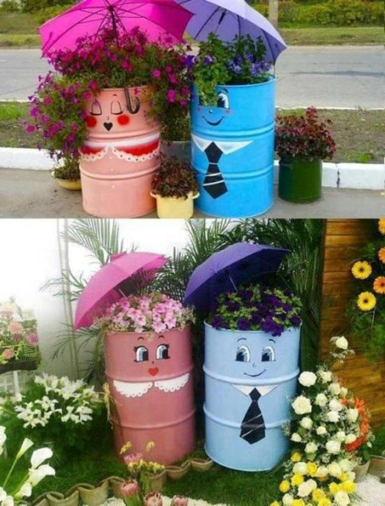 Contenedores reciclados convertidos en plantadores