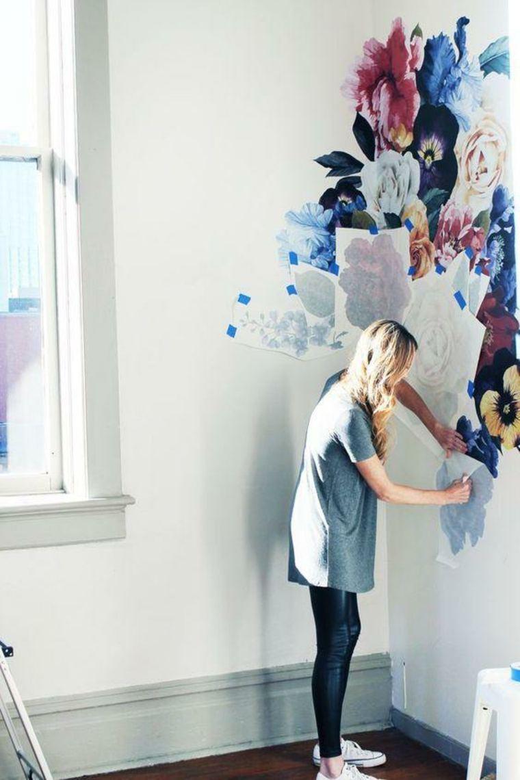 Tendencias en decoracion de paredes - Adhesivos con motivos florales