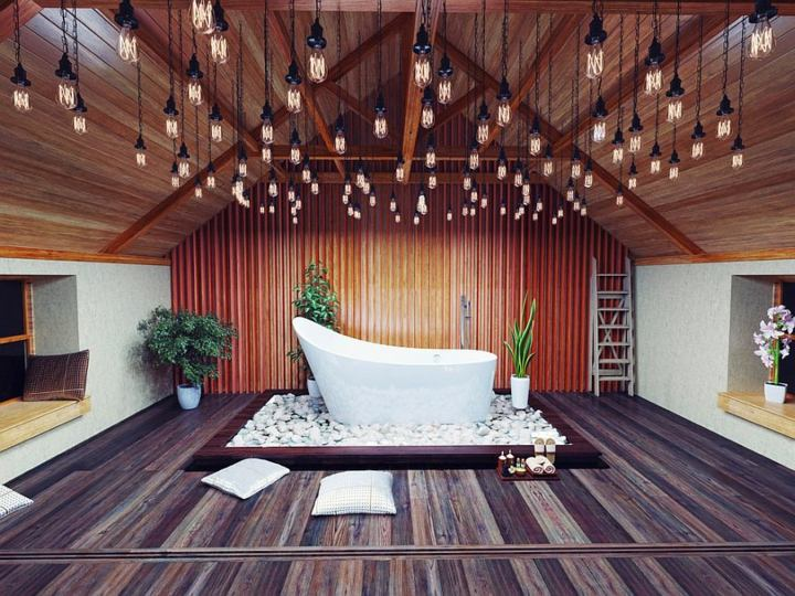 elegantes-lamparas-madera-techo