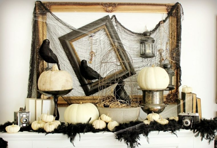 fantasmas de halloween-decorar-chimenea