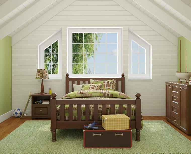 Dormitorio pequeño blanco y verde claro en el ático