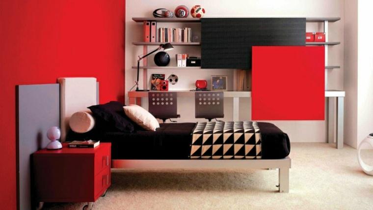habitaciones juveniles ideas-rojo