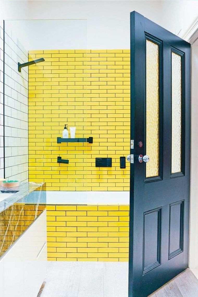 ideas para decorar-paredes-lechada-azulejos-amarillos