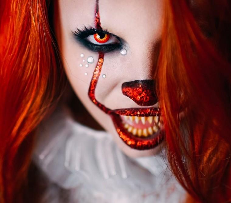 maquillaje de fantasia para halloween-payaso