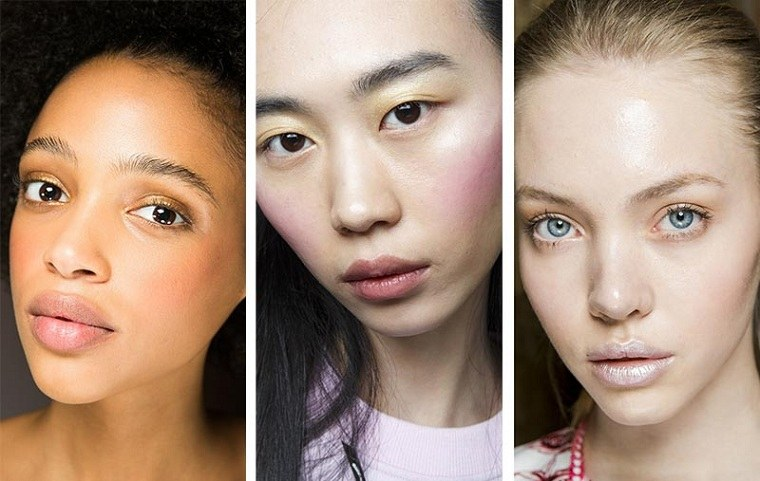 maquillaje perfecto-rubor-color-rosa-melocoton-tendencias-2018
