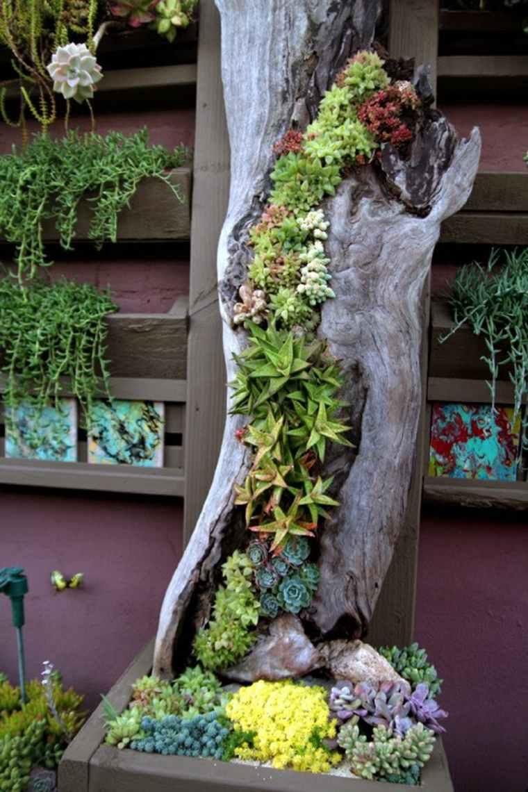 Hermoso jardín vertical en la corteza de un árbol