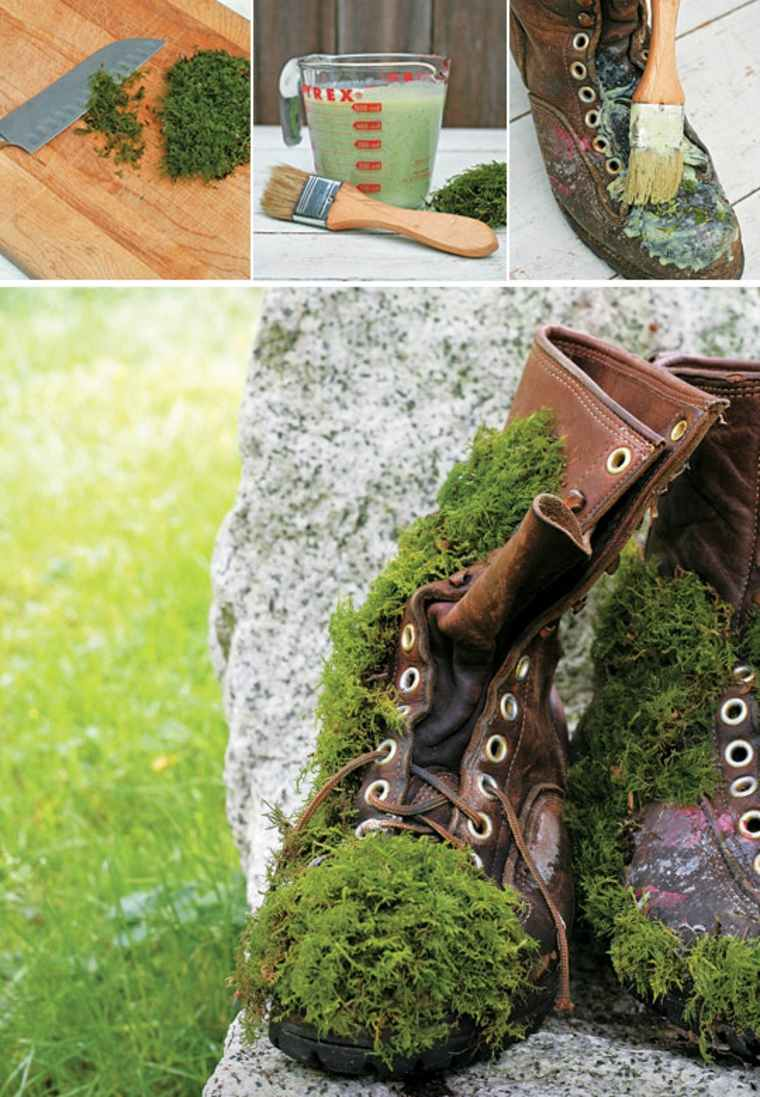 Zapato cubierto con musgo