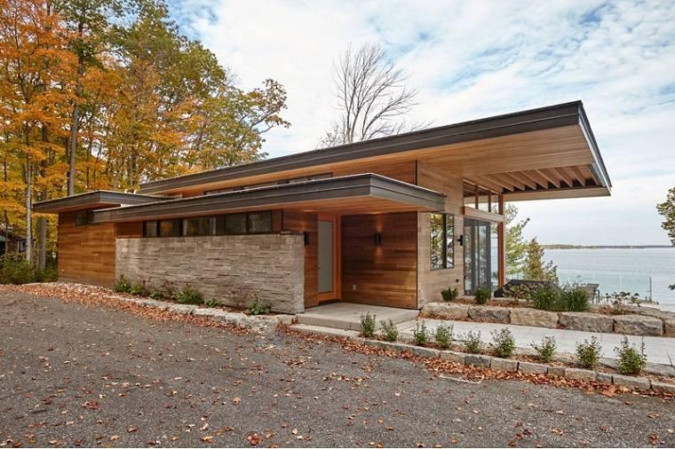 cabañas de madera amplia terraza