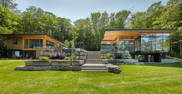 cabañas de madera jardines modernos