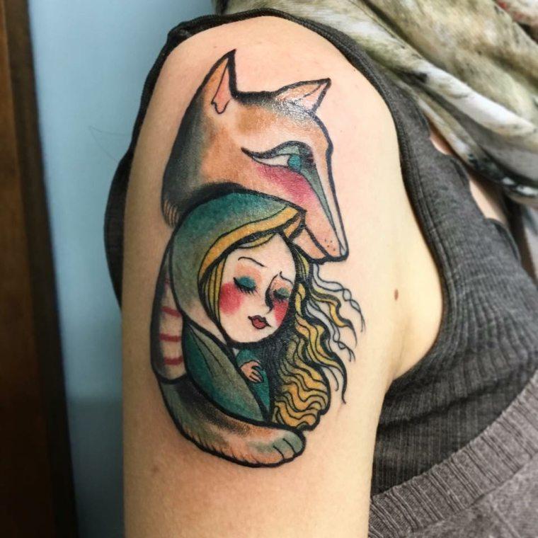 chica-zorro-tatuaje-hombro-diseno